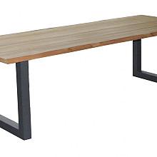 ANZA tafel raclin 240x110 teak naturel, square poten alu charcoal