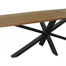 ARAS tafel raclin 240x110 teak naturel, star-tafelvoet black alu