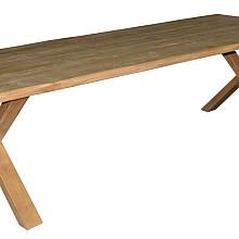 ISAC tafel trunck 260x100 teak naturel, X poten naturel